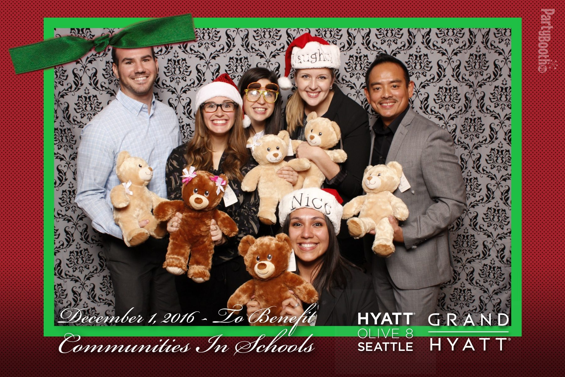 As part of their commitment to the community, The Grand Hyatt Seattle and Hyatt Olive 8, for the 4th year in a row, invited VIPs and special guests for a fun holiday party featuring Build-A-Bear Workshop to support Communities in Schools - the nation's leading dropout prevention organization. Guests were treated to great food, holiday tunes, and the opportunity to make their own furry friend from Build-A-Bear, while also raising money and donating gifts to this great community partner. Tonight We PartyBooth! Seattle Photo Booth ©2016 PartyBoothNW.com