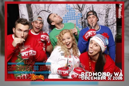 Deck those halls, trim those trees, and don that ugly sweater for the Ugly Sweater Run presented by Kahlua! Following the run, celebrators joined for the afterparty at Redmond's Bar and Grill in downtown Redmond, WA. Tonight we party with Kahlua - Tonight We PartyBooth! Seattle Photo Booth ©2016 PartyBoothNW.com