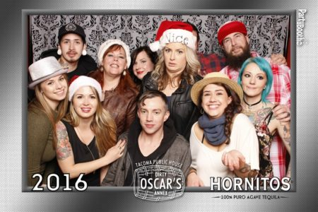 Dirty Oscar's Annex in Tacoma shut their doors on a Monday night in December 2016 so their staff could let their hair down and party with their friends and other VIPs, and pose for their close up in a photo booth sponsored by Hornitos Tequila and Jim Beam. Tonight We PartyBooth! Seattle Photo Booth ©2016 PartyBoothNW.com