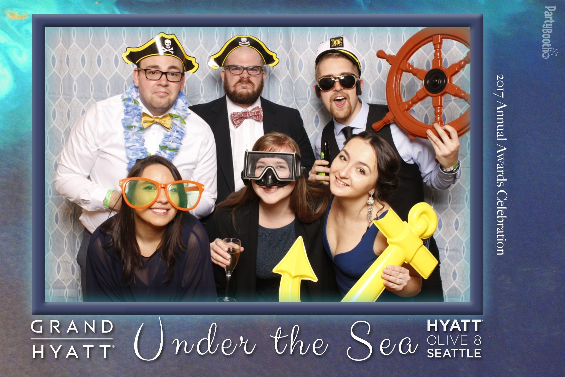 The associates of Seattle's Grand Hyatt and Hyatt at Olive 8 let their hair down for their Annual Awards Banquet! Guests were treated to food, fun, entertainment, music, and a photo booth all in the theme of the evening - Under The Sea. Tonight We PartyBooth! Seattle Photo Booth ©2017 PartyBoothNW.com