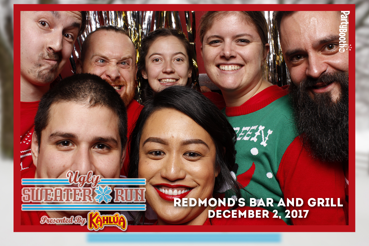 Join partiers at Redmond's Bar and Grill for the Seattle Ugly Sweater Run Official Afterparty - Presented by Kahlua! Later that night, the bar hosted an Ugly Christmas Sweater competition with the Grand Prize Winner going home with a Kahlua snowboard. Tonight we don our ugly sweaters - Tonight We PartyBooth! Seattle Photo Booth ©2017 PartyBoothNW.com