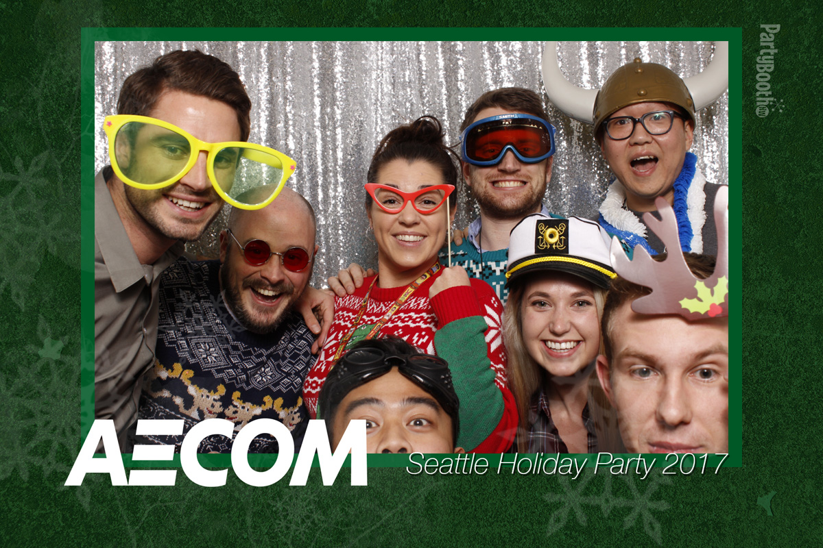 The Seattle AECOM office held their annual winter party with merriment and cheer, food, and photo booth from PartyBoothNW - Tonight We PartyBooth! Seattle Photo Booth ©2017 PartyBoothNW.com
