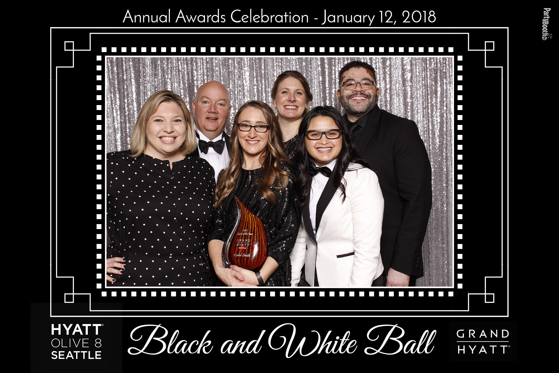 The teams from the Grand Hyatt Seattle and Hyatt Olive 8 joined together for an evening of fun with their friends and family, including a photo booth from PartyBoothNW - Tonight We PartyBooth! Seattle Photo Booth ©2018 PartyBoothNW.com