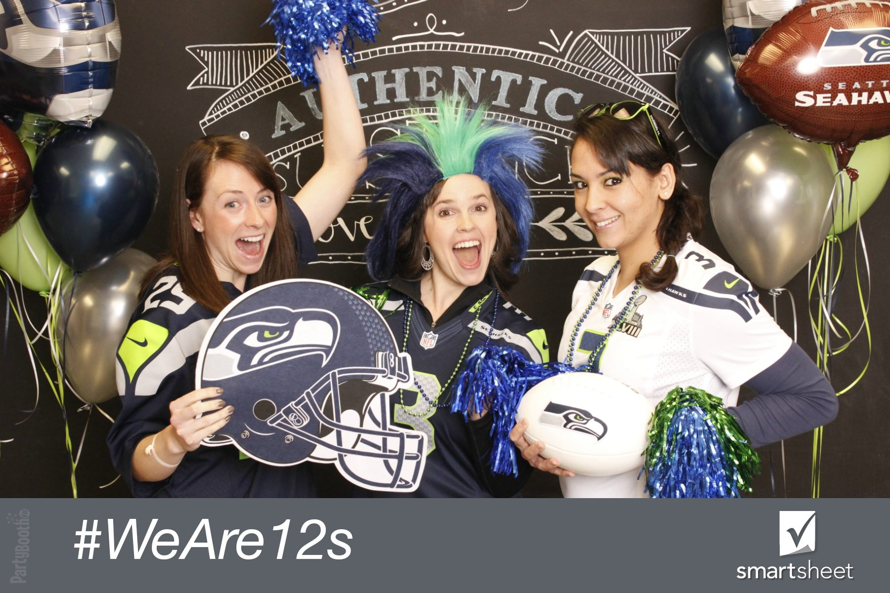 The team at Smartsheet got in the spirit to support the home team on Blue Friday before the big game - Tonight We PartyBooth! Bellevue Photo Booth ©2015 PartyBoothNW.com