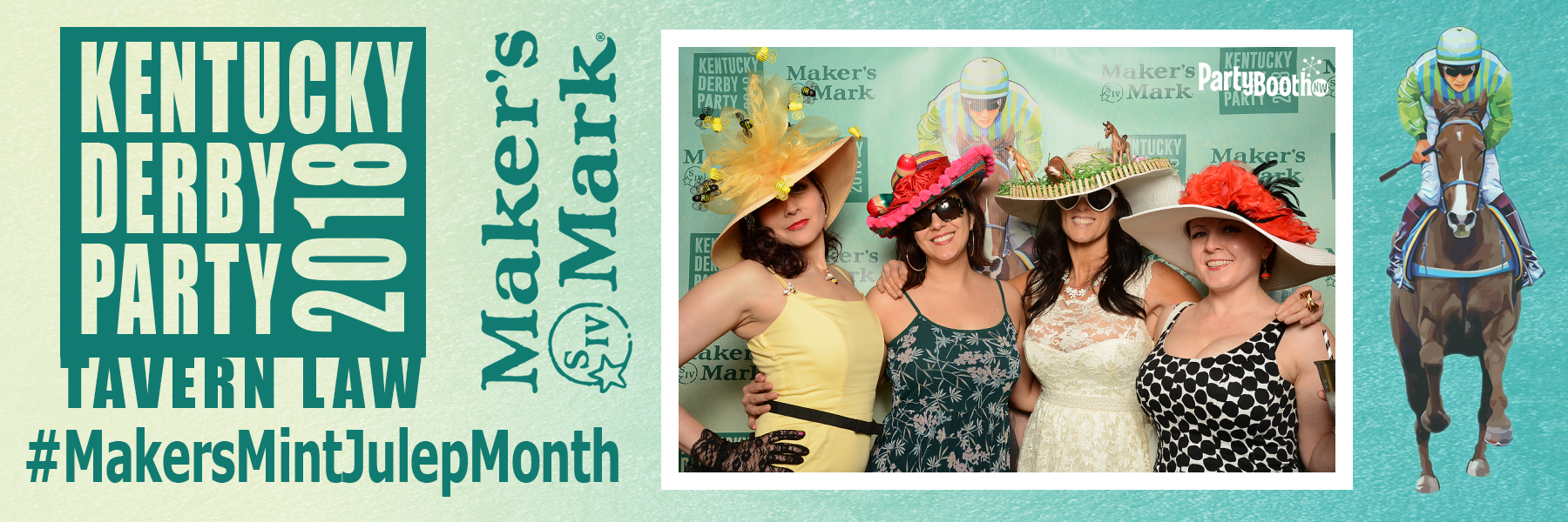 Celebrating the 144th running of the Kentucky Derby in Seattle, one of the greatest parties around was with Maker's Mark at Tavern Law in Seattle's Capitol Hill neighborhood, with Mint Juleps, hats and general merriment. Tonight we celebrate the race winner, Justify, with a Maker's Mark Toast - Tonight We PartyBooth! Seattle Photo Booth ©2018 PartyBoothNW.com